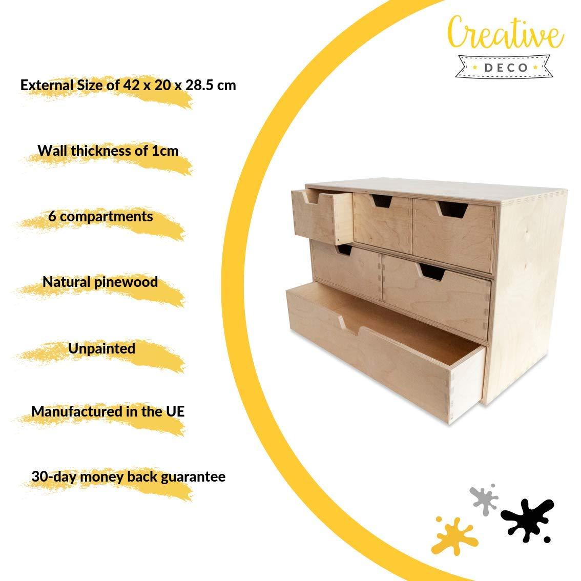 Creative Deco Pequeña Cajonera Madera | 6 Cajones | 42 x 20 x 28,5 ...