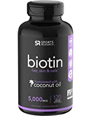 Biotin Infused with Organic Virgin Coconut Oil - 5000mcg (120 Veggie-softgels)
