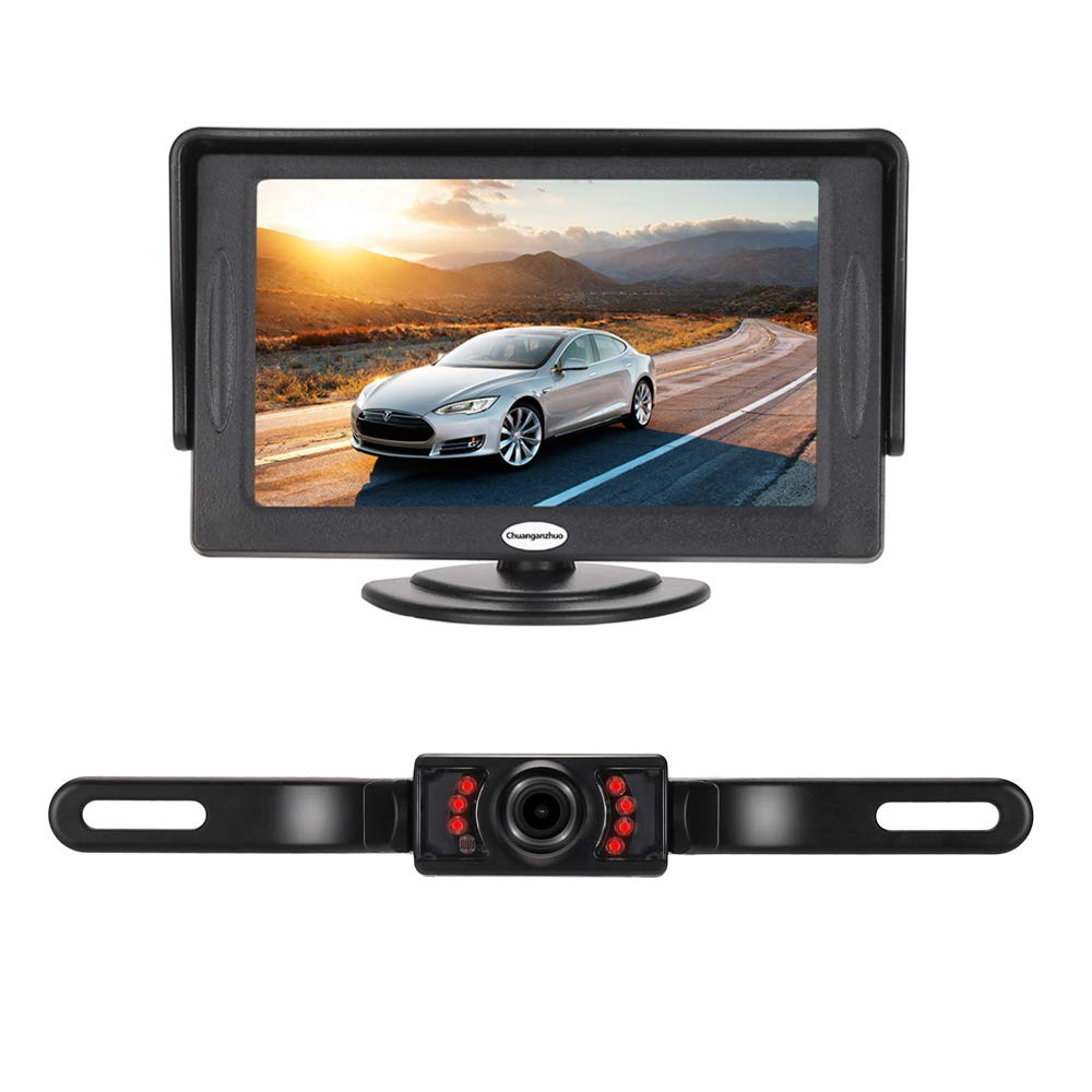 Backup Camera And Monitor Kit For Caruniversal Wired Wiring Harness 93 Mustang Automatic Waterproof Rear View License Plate Car 43 Lcd
