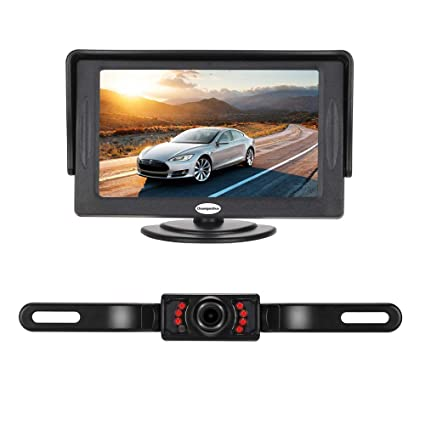 amazon com backup camera and monitor kit for car,universal wiredbackup camera and monitor kit for car,universal wired waterproof rear view license plate