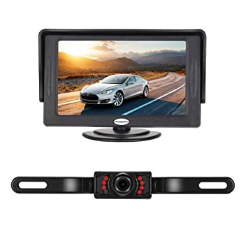 Backup Camera and Monitor Kit for Car,Universal Wired Waterproof Rear-View on