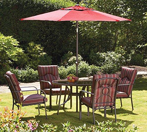 amalfi 4 seater garden dining set with parasol. amalfi 4 seater dining set with burgundy parasol - royalcraft garden furniture