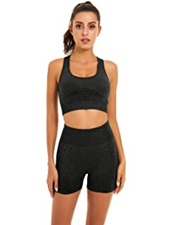 Aleumdr Womens Yoga Outfits 2 Piece Set Workout Athletic Leopard Print Shorts Leggings And Sports Bra Set Gym Clothes At Amazon Women S Clothing Store
