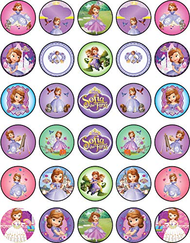 Sofia The First Cupcake Toppers (30 x Edible Cupcake Toppers - Sofia The First Themed Collection of Edible Cake Decorations | Uncut Edible Prints on Wafer)
