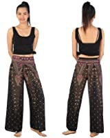 Boho Palazzo Wide Leg Side Slits Belly Gypsy Hippie Harem Pants Trousers Peacock Black & White