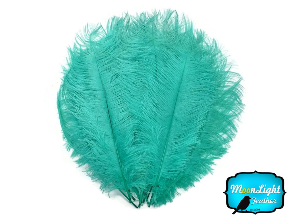 Ostrich Feathers, 1/2 Lb 17-19'' Large Ostrich Drab Feathers Wholesale Aqua Blue
