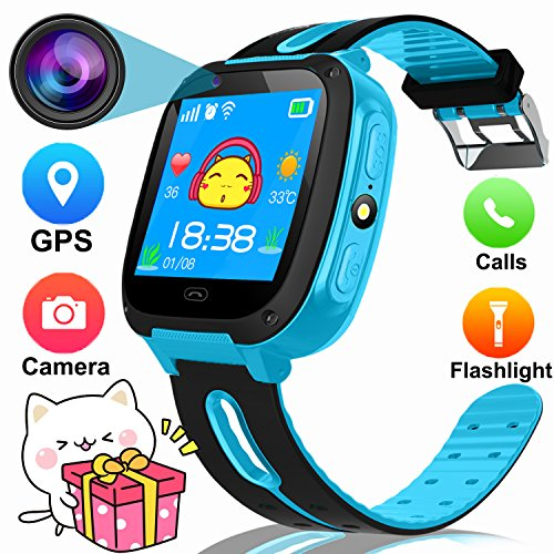 "1.54"" Smart Watch For Kids,GPS Tracker Phone Watch with SIM Slot Game Camera Flashlight SOS for Parents APP iPhone Android Smartphone for Children Boys Girls Sport Camping Birthday Holiday Gift(Blue)"