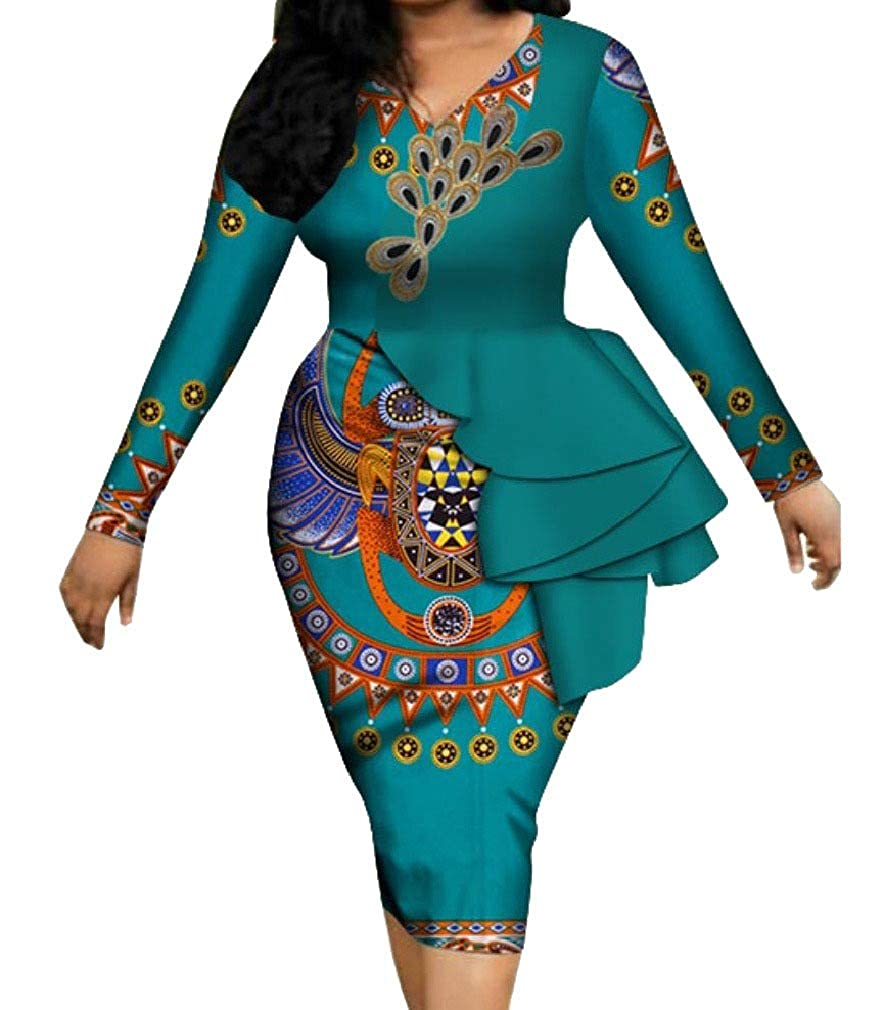 Blackish Green Spodat Womens Bodycon Dashiki African Cotton Elegent Party Cocktail Dress