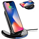 Wireless Charger,ELEGIANT 10W Qi-Certified Wireless Charging Pad Stand 0 to 90 Degrees Adjustable Fast Charging Galaxy S10/S10 Plus/S10E/S9,Compatible with iPhone Xs MAX/XR/XS/X/8/8 Plus