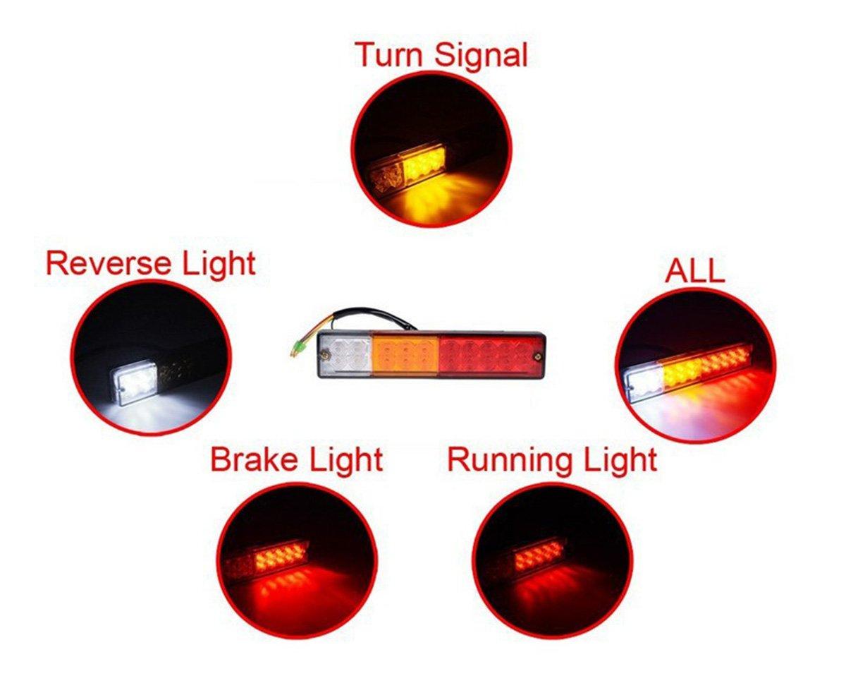 anzene 2 LED Trailer Truck Tail Light Bar 20LEDs red-amber-white 5 ...