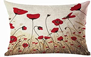 """Bnitoam Charming Oil Painting Beautiful Red Poppy Throw Lumbar Pillow Case Cushion Cover Decorative Cotton Blend Linen Pillowcase for Sofa Rectangle 12""""X 20"""" (Red Poppy Throw Lumbar Pillow) ¡"""