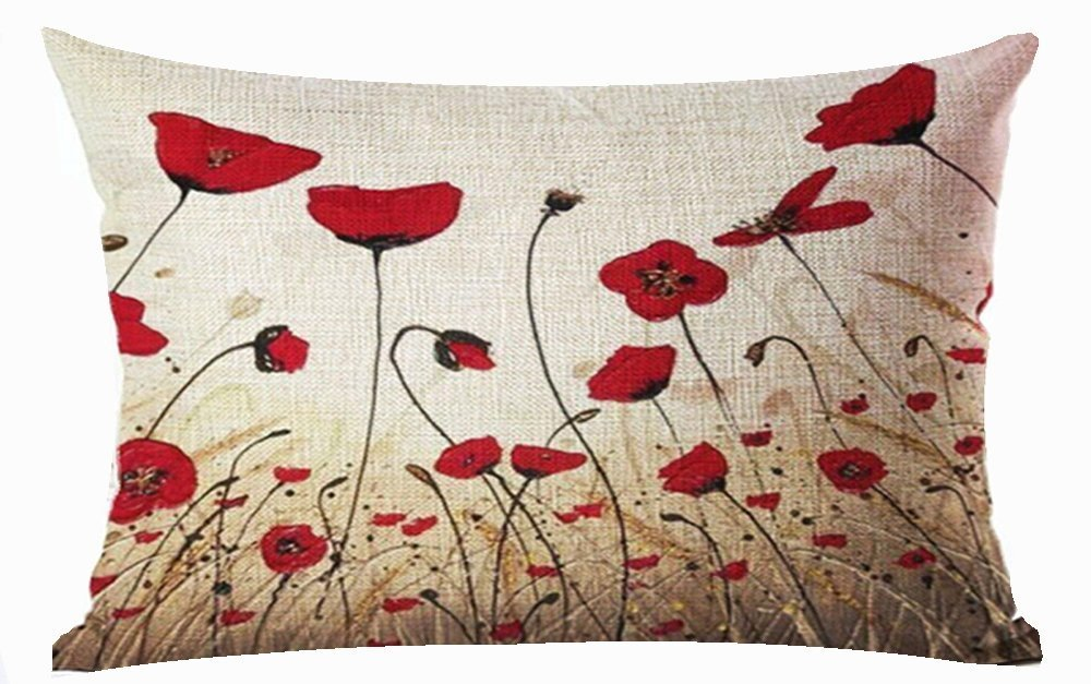 Amazon Com Charming Oil Painting Beautiful Red Poppy Throw Lumbar