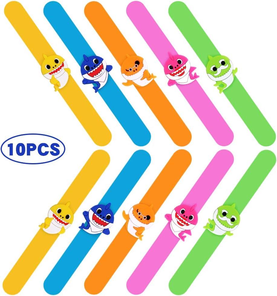 Bsstr 10 Pcs Shark Silicone Slap Bracelets , Baby Shark Slap Bands for Kids , Baby Shark Theme Party Supplies
