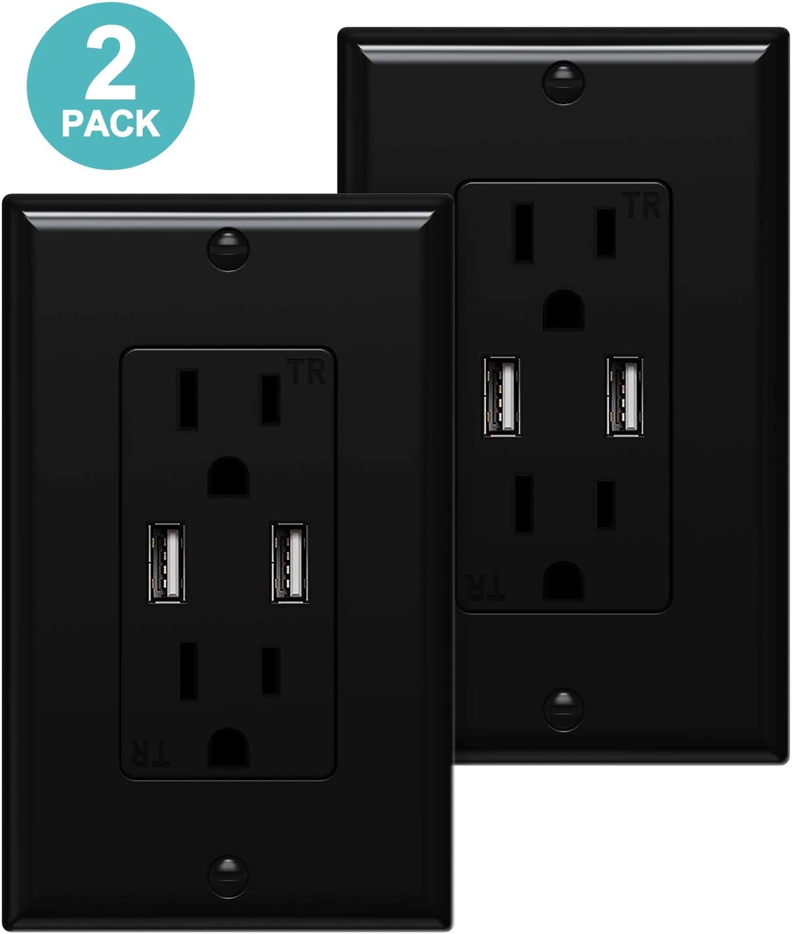 USB Wall Outlet Black 3.1A Dual Smart High Speed USB Charger Electrical Outlet 15Amp//125V Receptacle 1Pack Wall Plate Screw Included