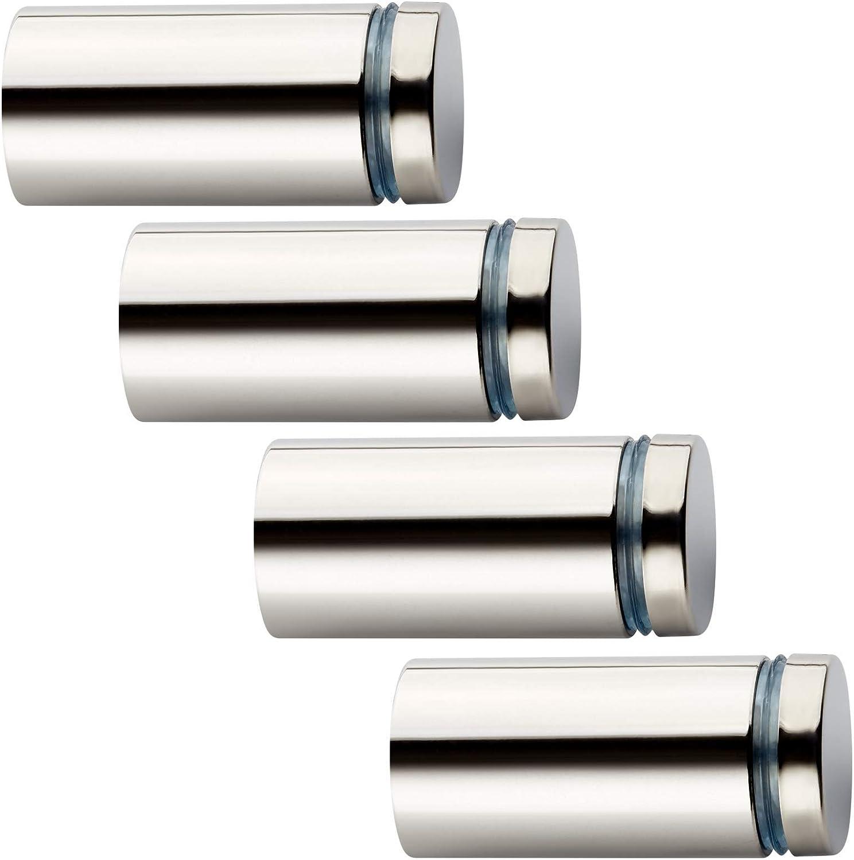6 St/ück Glas-Abstandshalter /Ø 19 mm mit 36,2 mm Wandabstand Chrom poliert Abstandshalter Schilderbefestigung Glasabstandshalter von SO-TECH/®