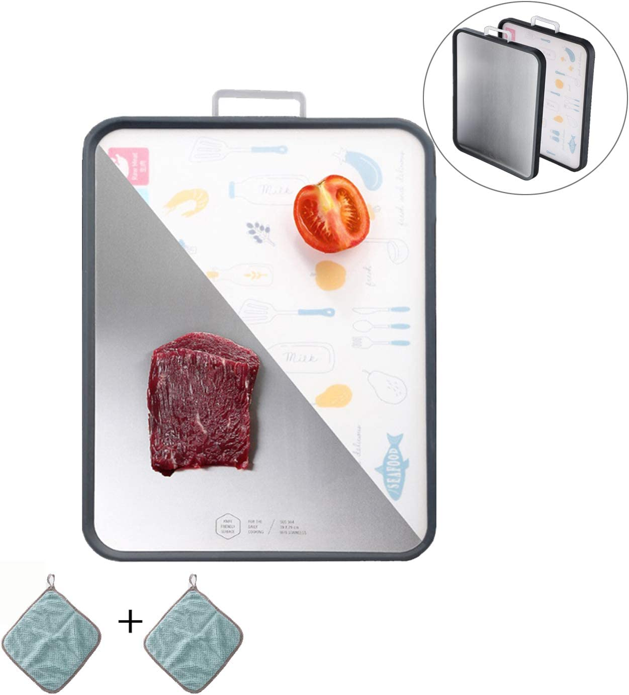"Stainless Steel Cutting Board With Handle Large Size 11"" x 15"" Dishwasher Easy Clean 1"" Thick Non-Slip Double-Sided Multifunctional Chopping Board For Kitchen Meat Fish Vegetable Cheese Butter"