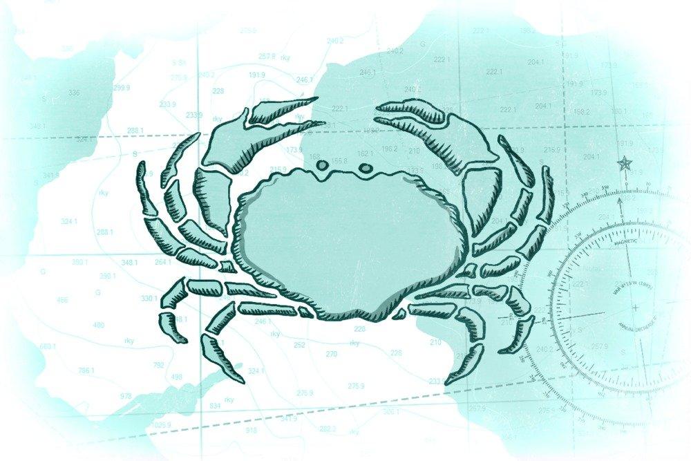 Crab – ティール – Coastalアイコン 24 x 36 Giclee Print LANT-66425-24x36 B017ZK8Y0A  24 x 36 Giclee Print