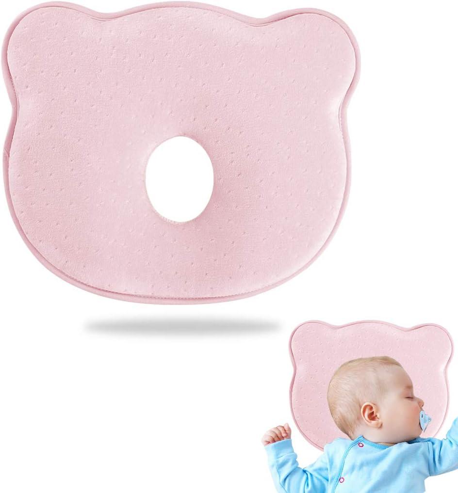 Almohada para Bebe, Almohada Bebé Plagiocefalia, Cojín Plagiocefalia, Bebé Recién Nacido Almohada, Almohada Bebe con Funda de Almohada, Almohada para Bebé Contra la Deformación, Unisex.26x22cm(Rosado)