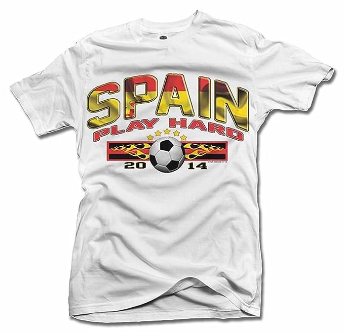 España jugar duro fútbol (fútbol) camiseta de hombre Tee (6.1oz)