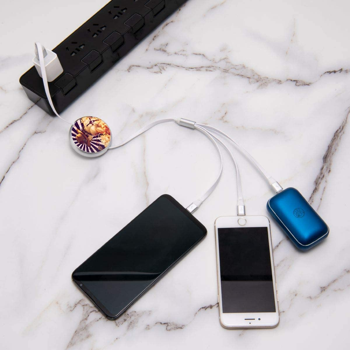 Etc. N//C One Piece3-In-1 Telescopic Multi-Function Charging Cable Tpye-C Universal Interface Suitable for Apple Android