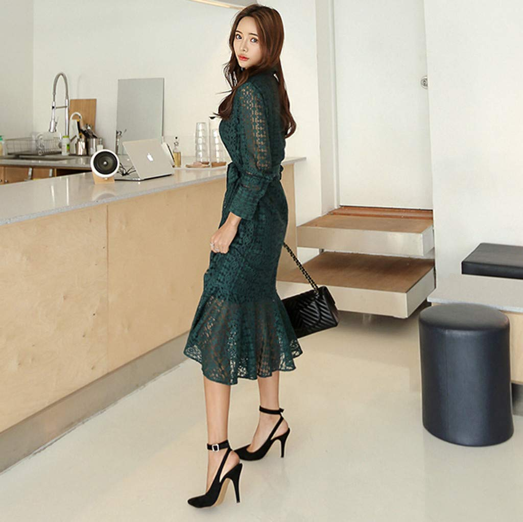 Women Ladies Office Lace Sexy Long Sleeve Tie Up Button Down Mermaid Flare Dress Green by LUXISDE (Image #4)