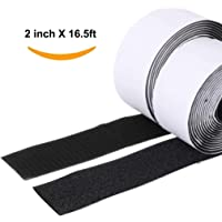 2Pcs Velcro Strips with Adhesive Self Adhesive Hook and Loop 16.5 ft Duty Reusable Masking Tape Fastener Sticky Back (Black) (Wide 2 inch X16.5ft)