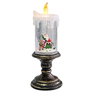 Eldnacele Battery Operated Lighted Flameless Candles Christmas Snow Globe Candle Light Swirling Water Glittering Spinning Candles for Home Decoration(Santa Claus)