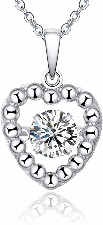CS-DB Pendants Love Dancing Topaz Stone Silver Necklaces