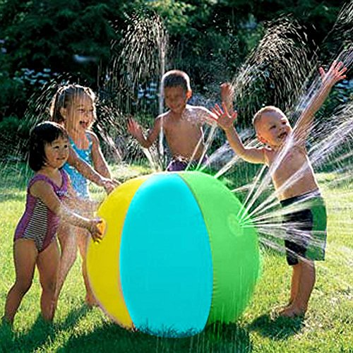 Per Kids Inflatable Water Sprinkler Toy Splash And Spray Ball With 4 Water Spouts Summer Fun Toys For Garden Pool Beach Playing Water-Diameter 29.52 IN Ball by Per