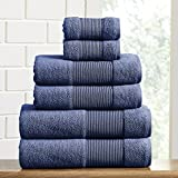 Amrapur Overseas Air Cloud 100-Percent Combed Cotton Towel Set, 6-Piece, Navy