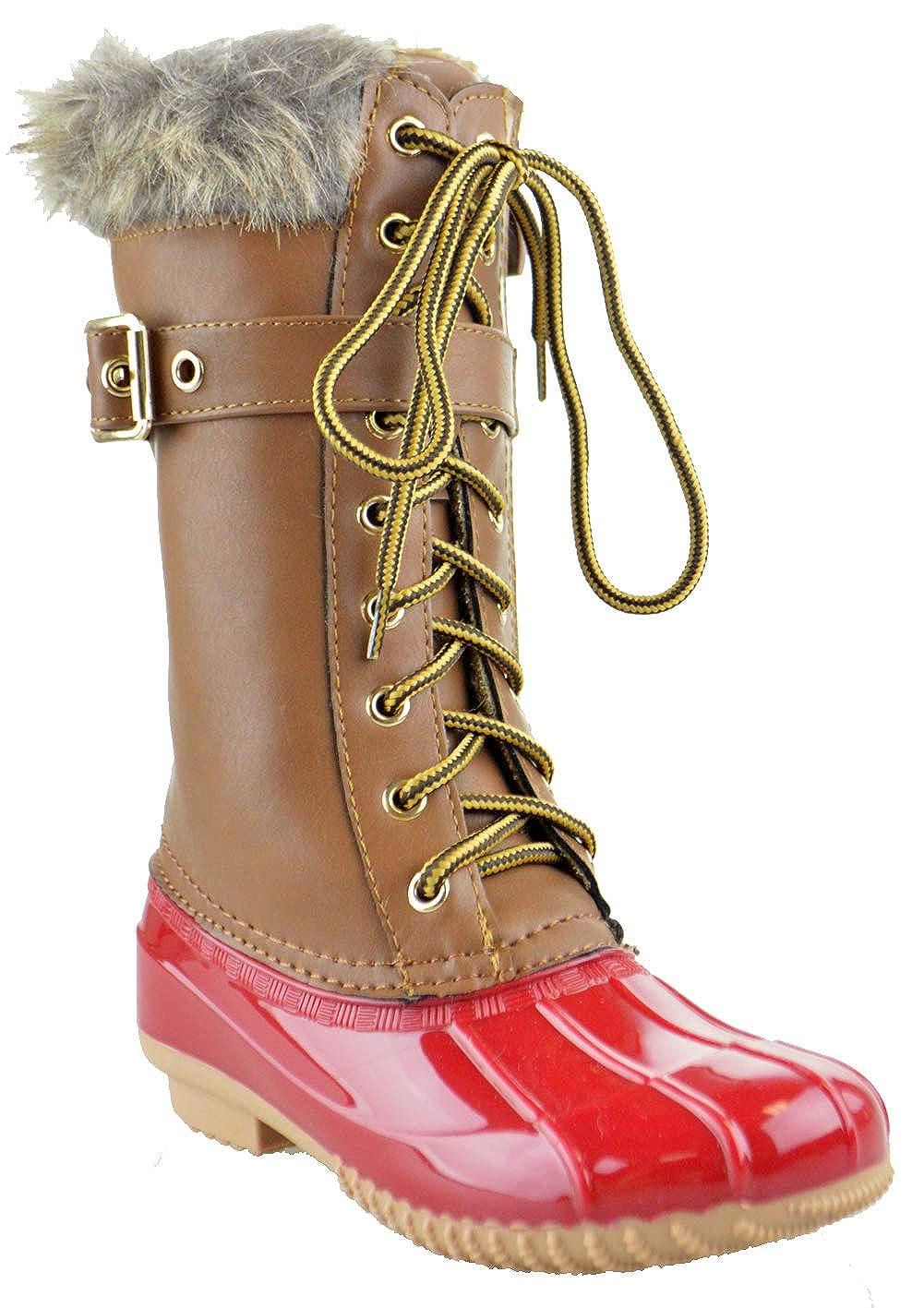 Link Duck 10K Little Girls Knee High Rain Lace Up Fur Trendy Rubber Duck Boots