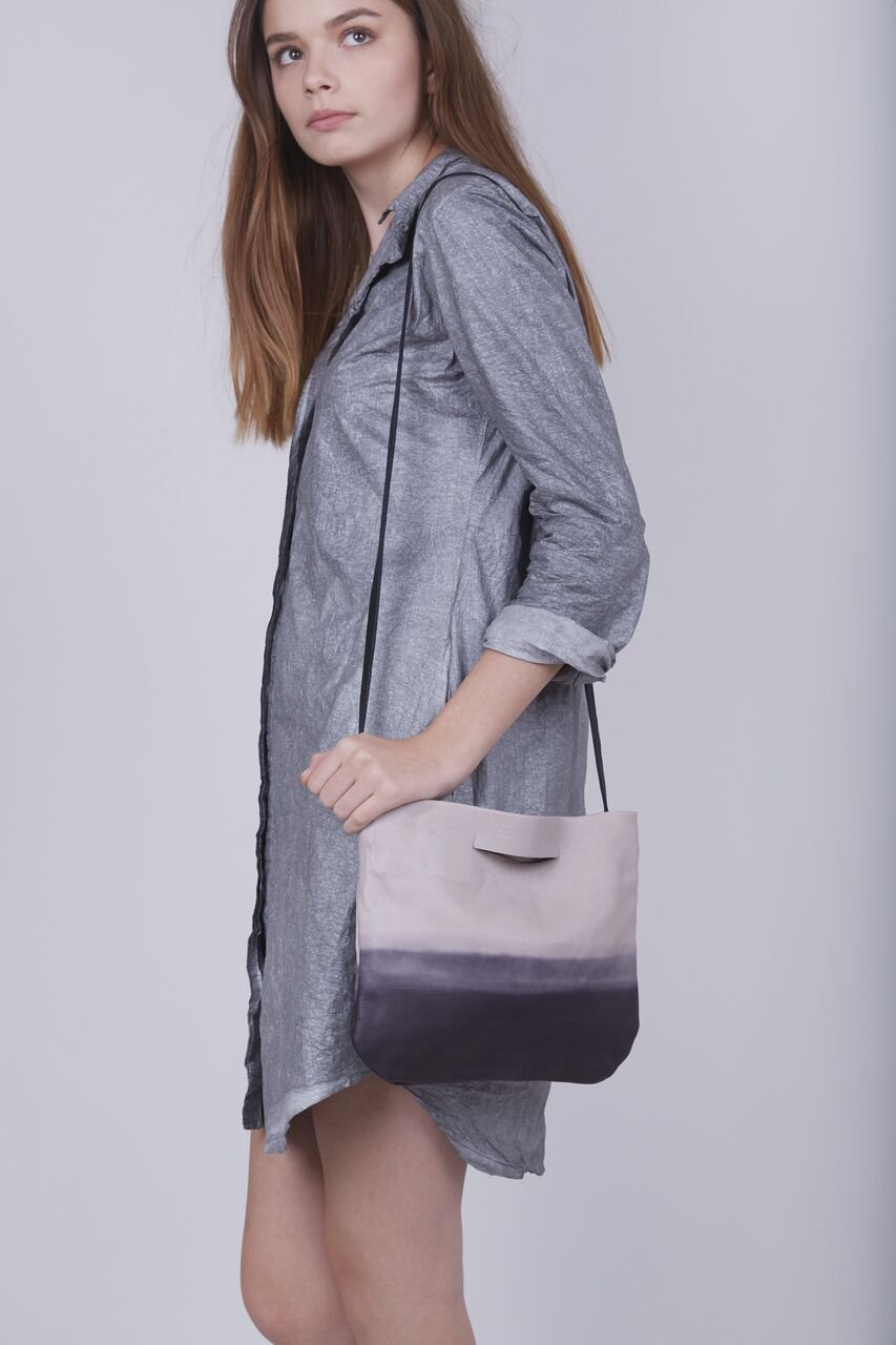 Handmade Minimalist Grey and Black Ombre Clutch Shoulder Bag