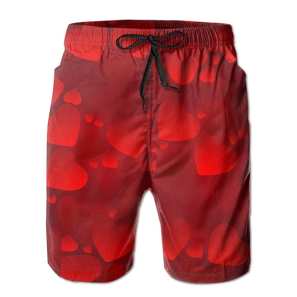 Tydo Red Heart Mens Beach Shorts Classic Swim Trunks Surf Board Pants With Pockets For Men