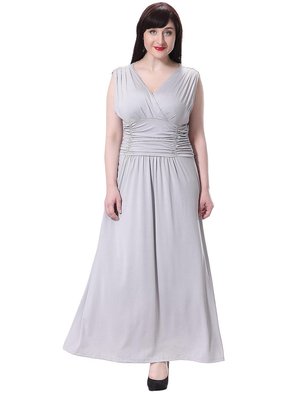 Amazon.com: Sue&Joe Women\'s Maxi Dress Summer V-neck Ruched Empire ...