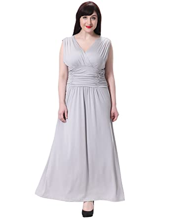bba3b01e2fe6 Sue&Joe Women's Maxi Dress Summer V-Neck Ruched Empire Waist Formal Plus  Size Gown,