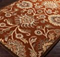 Single Piece Rust Hand-Tufted Indoor Wool Rug, 2 Ft.6 inch x 3 Ft. Wool, Contains Latex, Classic Traditional & Transitional Style, Floral Paisley Pattern, Runner Shape, luxury
