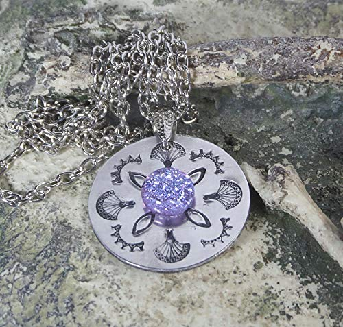 (Handstamped Mandala Design Pendant w Handmade Fused Glass Light Purple Dichroic Cabochon Necklace Included )