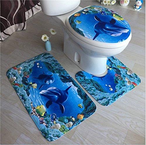 Yolandabecool Materassino in spugna da bagno con tre pezzi in flanella blu marino