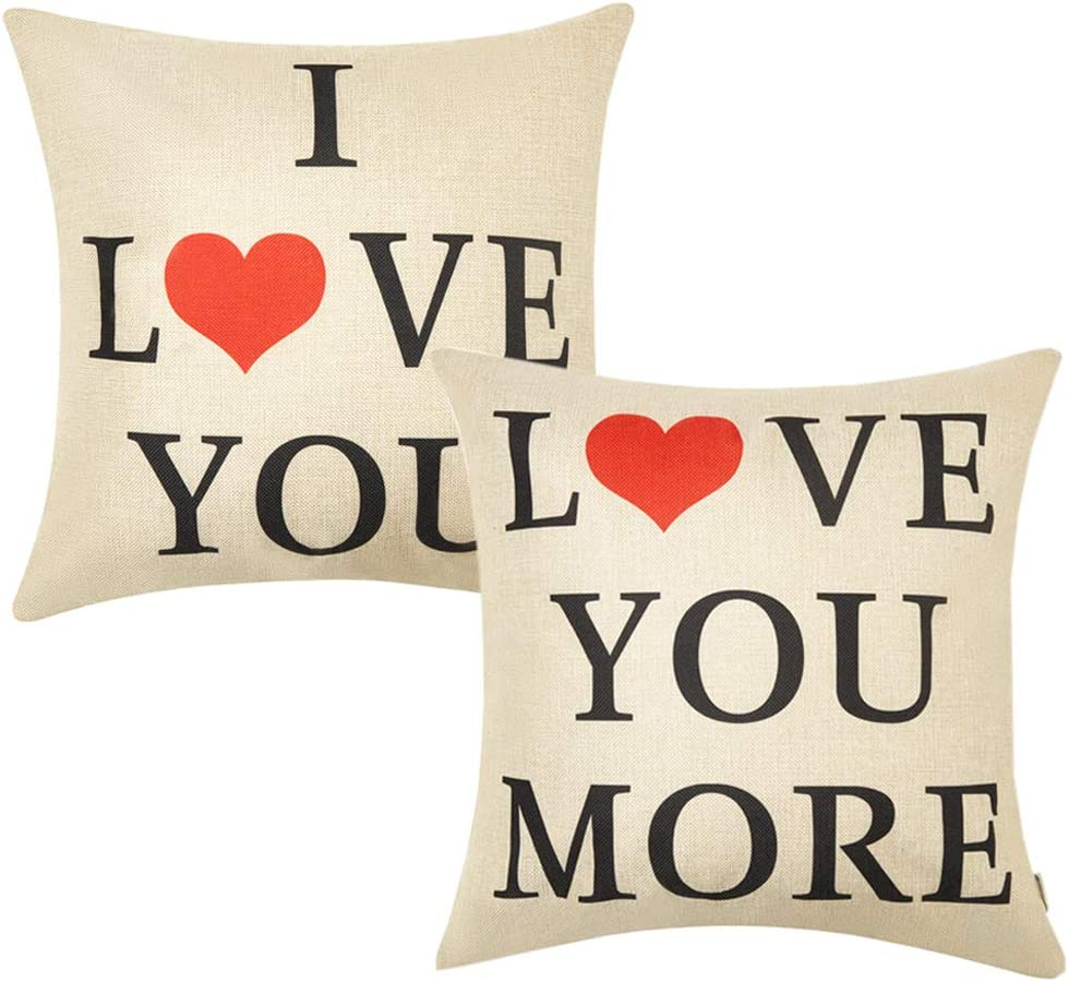 Anickal Set of 2 Valentines Pillow Covers 18x18 for Valentines Day Decorations I Love You Love You More Quote Decorative Throw Pillow Covers Cotton Linen Cusion Cover for Home Farmhouse Decor