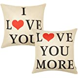 Anickal Set of 2 Valentines Pillow Covers 18x18 for Valentines Day Decorations I Love You Love You More Quote Decorative…