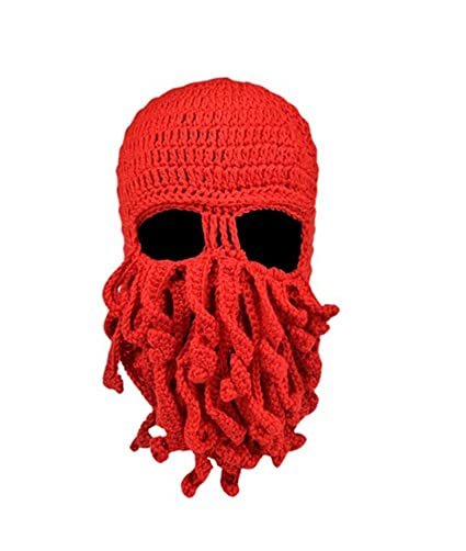 a4f16710bf3 Amazon.com  Fashionclubs Women Men Winter Warm Octopus Entacle Beanie Wind  Mask Knit Hat Cthulhu Fisher Cap (Red)  Home   Kitchen