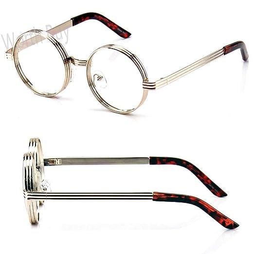 a3c783db592 Amazon.com  Mens Womens Fashion Steampunk Clear Eye Glasses Round Retro  Metal Gold Frame  Clothing
