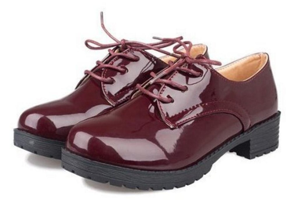ACE SHOCK Women's Girl's Lolita Low Top Japanese Students Maid Uniform Dress Shoes (7.5, Dark Red)