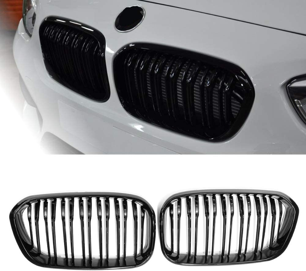 Semoic Front Racing Grill for F20 F21 1 Series 2015 2016 2017 Sports Double Slat Line Kidney Grill Grille Gloss Black