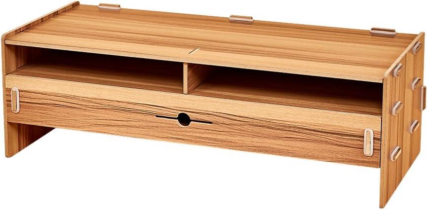 Walmeck コンピューターモニタースタンド ライザー 木製デスクトップオーガナイザー ステーショナリーキーボード収納スロット付き 引き出し オフィス 学校用品 Cherry-wood