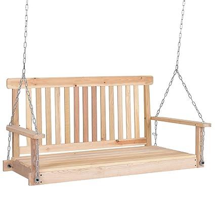 Amazon Com 4 Ft Porch Swing Wood Swing Bench Patio Hanging Seat