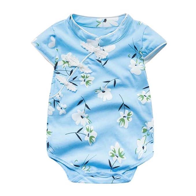 a6afa8610b Amazon.com  PANDA SUPERSTORE  Blue Floral  Summer Cotton Baby Girl ...