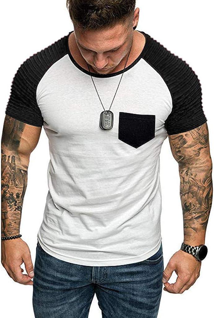 DOGZI Camisetas para Hombre - Costura en Contraste Doblar ...