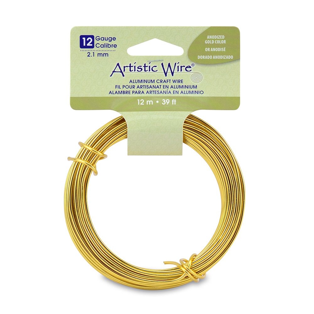Artistic Wire 12 Gauge Round Anodized Aluminum Craft Wire, 39.3', Gold 39.3' AWB-120120-12M