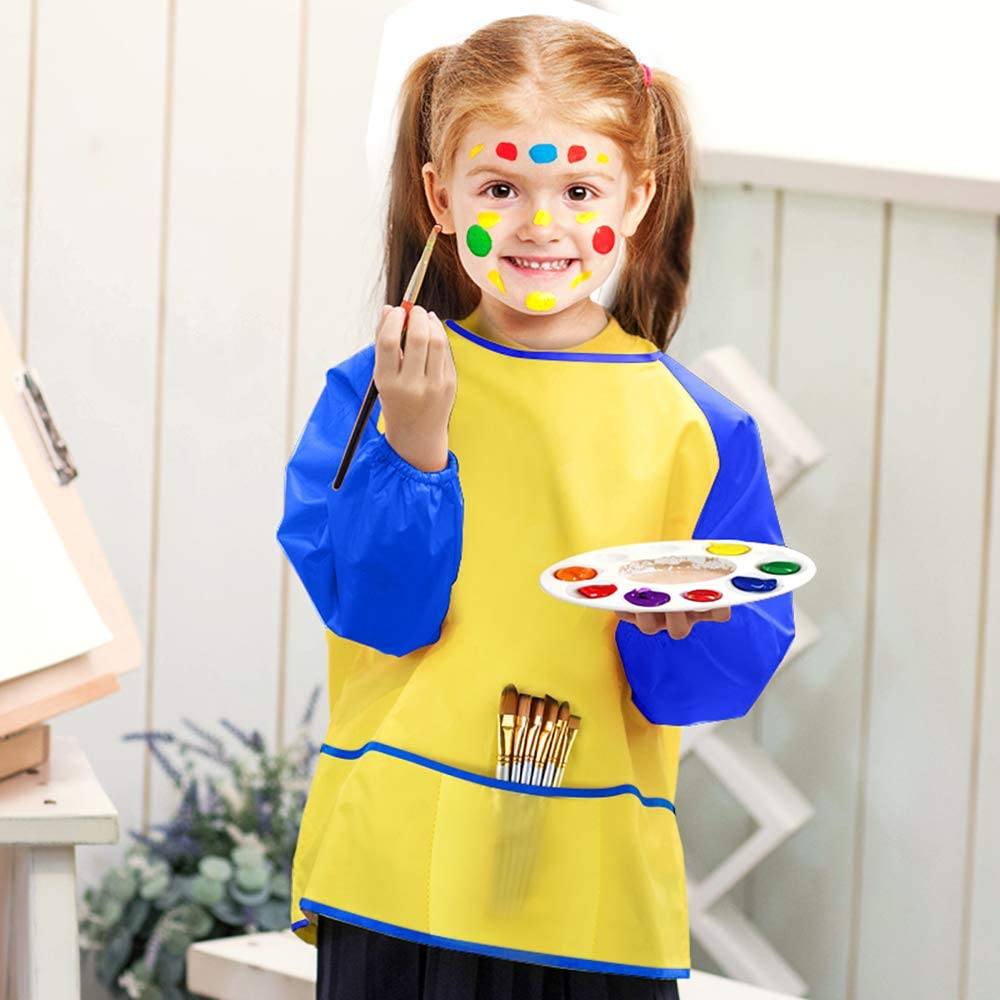Age 2-6 Years KUUQA 6 Pcs Waterproof Art Smock Kids Art Painting Aprons Long Sleeve with 3 Roomy Pockets and 10 Pcs Painting Brushes